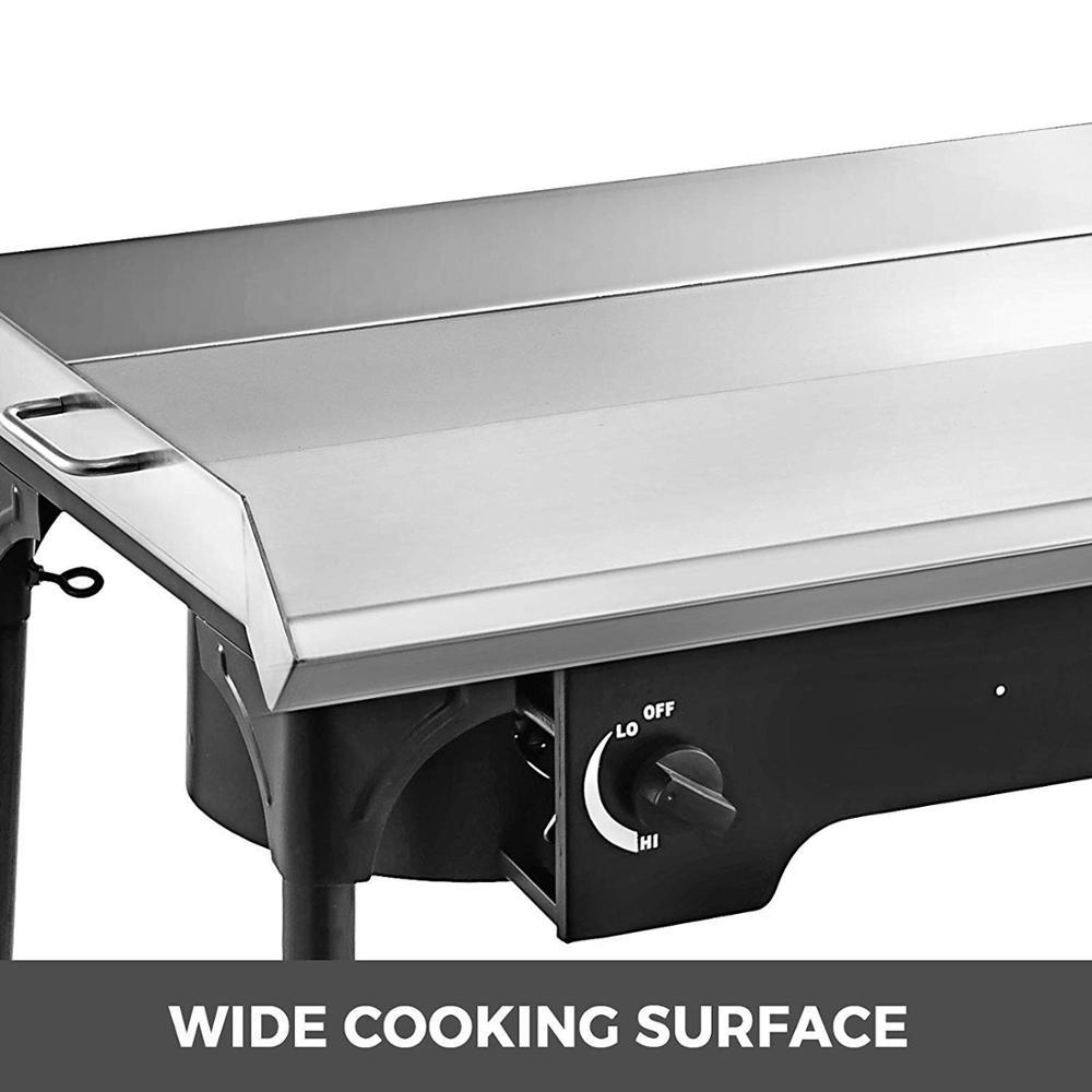 2 регулируемых горелки плита 32 x 17 двойная горелка противень для духовки с плоским верхом из нержавеющей стали с 4 сковороды шпатель и скреб... - 3