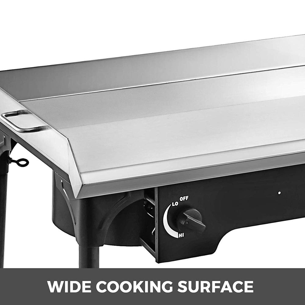 2 Adjustable Burners Stove 32 x 17 Double Burner Stove Griddle Flat Top Stainless Steel with 4 Griddle Spatula & Scraper - 3