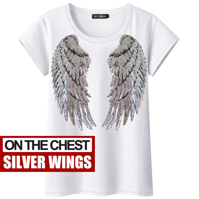 LADIES SEQUIN ANGEL WING SHORT SLEEVE T-SHIRT WOMEN TOP SIZE UK 8-18