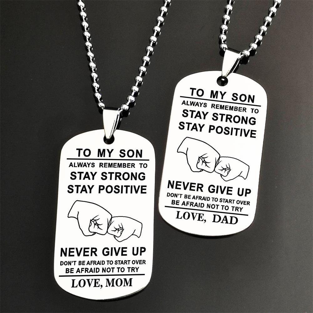 Моему сыну никогда не сдавайся, любовь, папа, Очаровательная подвеска, ожерелье из нержавеющей стали для сына, отца, ювелирные изделия, подар...