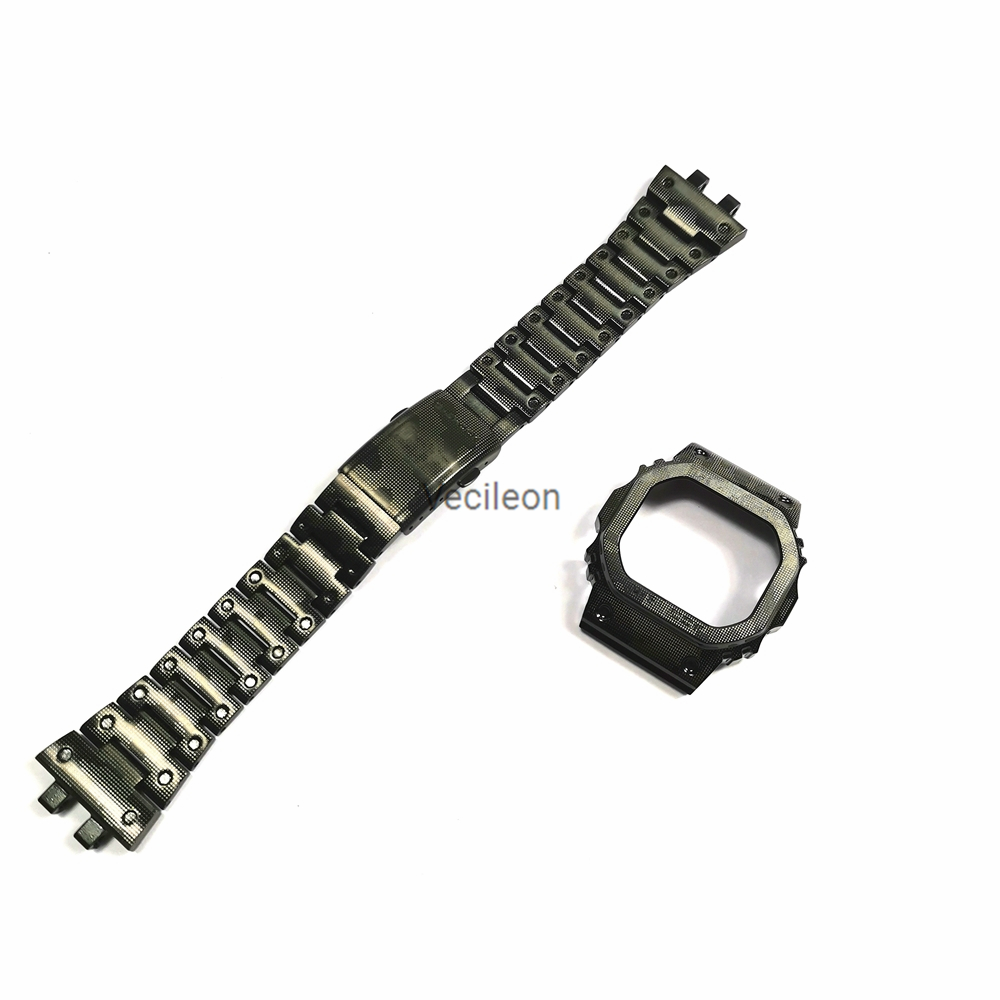 Camouflage And Blue 316 Stainless Steel Watchbands And Bezel For GMW-B5000 Metal Steel Watch Bracelet Cover With Tools