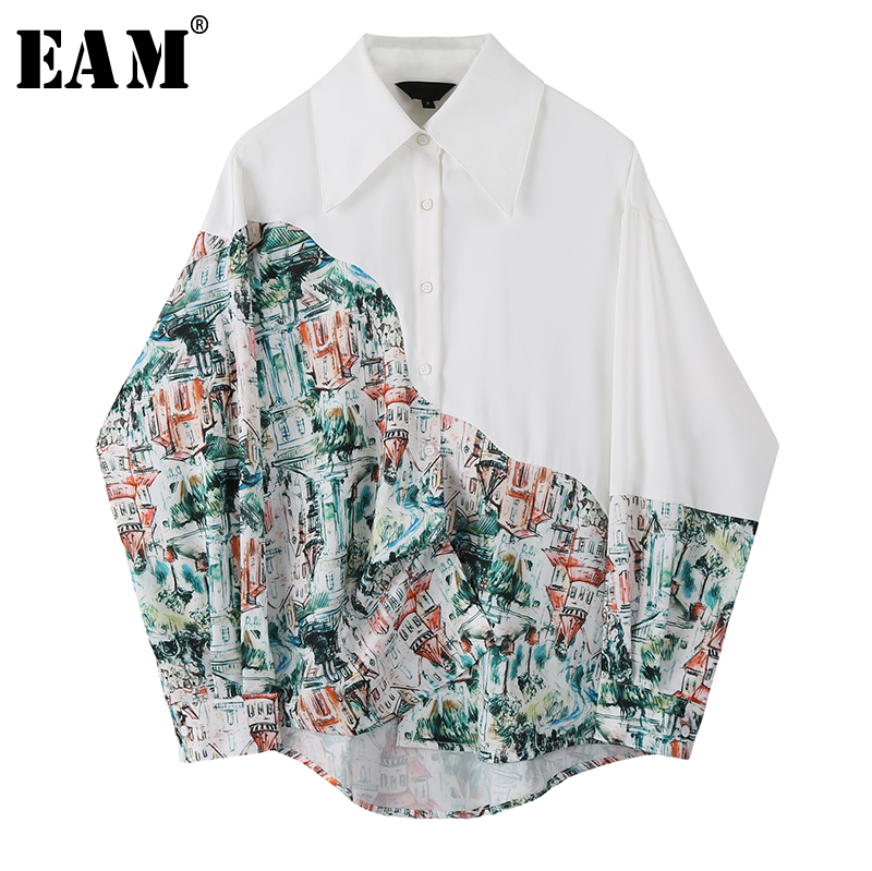 [EAM] Women White Pattern Printed Split Big Size Blouse New Lapel Long Sleeve Loose Fit Shirt Fashion Spring Autumn 2020 1S797
