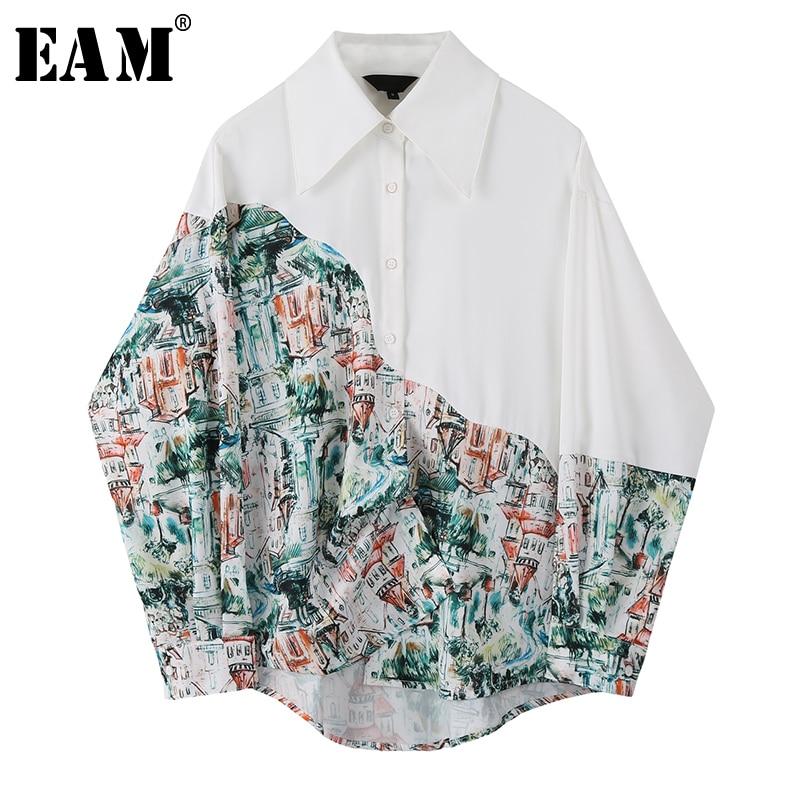 [EAM] Women White Pattern Printed Split Big Size Blouse New Lapel Long Sleeve Loose Fit Shirt Fashion Spring Autumn 2020 1S797