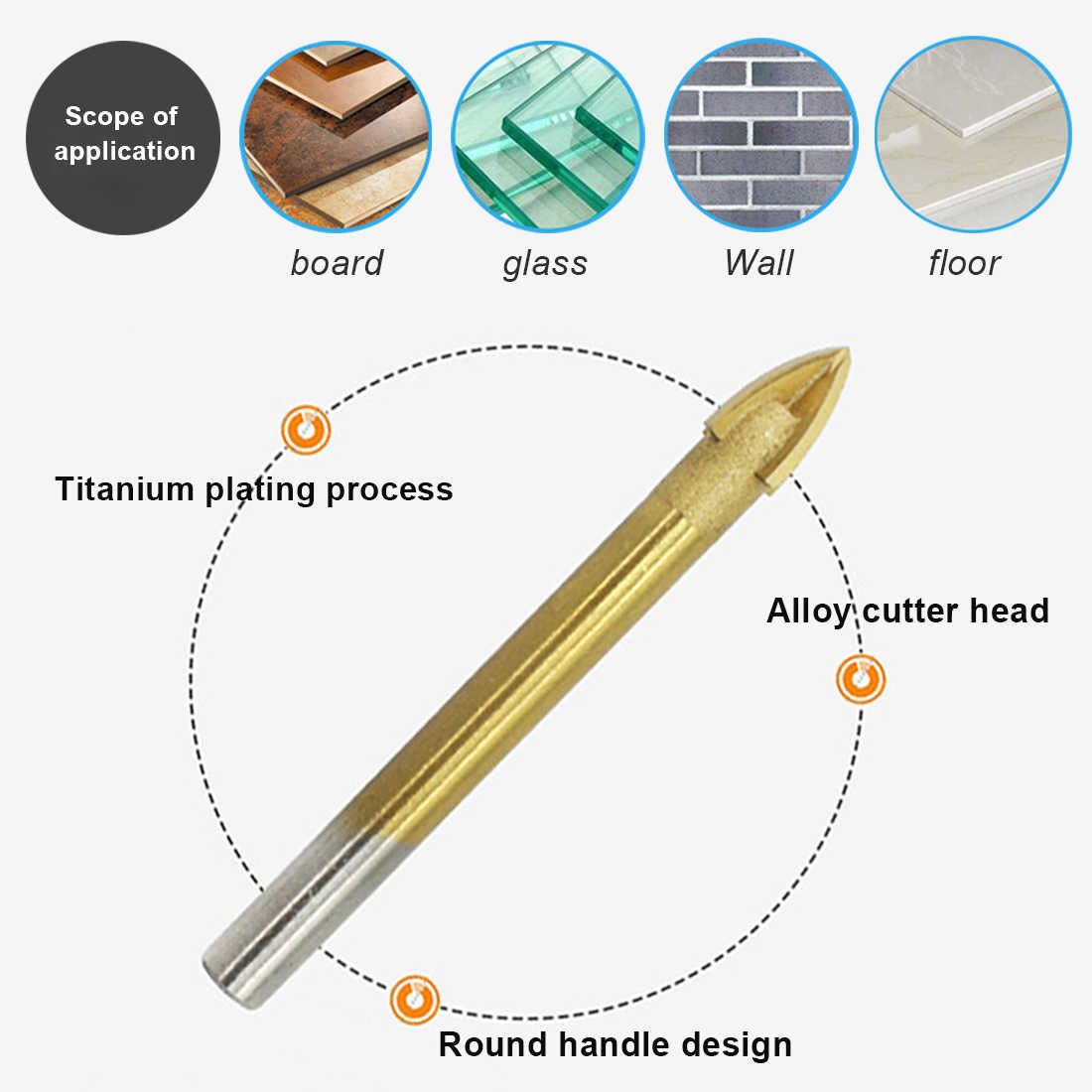 3-16mm Glass Tile Drill Bit Titanium Plated Spear Head Round For Ceramic Floor