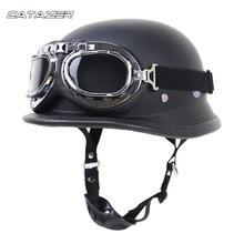 Bike Helmet Locomotive Retro Helmet German Helmet Motorcycle Helmet Outdoor Riding Half Helmet with Glasses