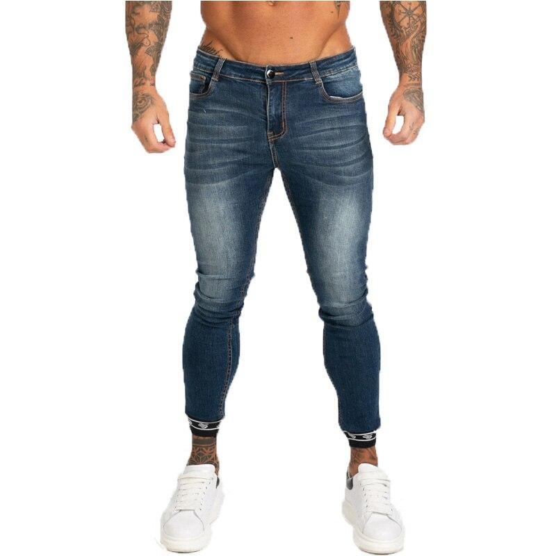 GINGTTO Men's Skinny Jeans Dark Blue Elastic Waist Classic Men's Jeans Stretch Pants Cotton Comfortable Ankle Length Denim Pants