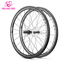 UCI new Rolling Stone bicycle wheels rear front high TG carbon wheelset 700C clincher 40mm aero rim road bike wheel set 1500g(China)