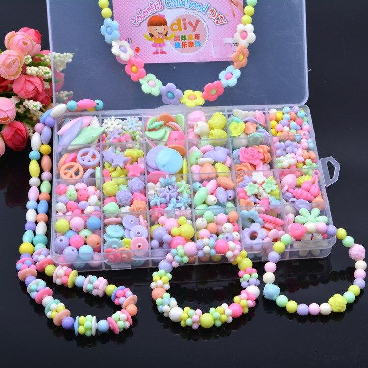 24 Lattice Set Beaded Bracelet DIY Toy Educational Handmade Intelligence GIRL'S Creative Bracelets CHILDREN'S Necklace For Makin