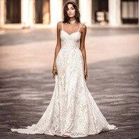 Miaoduo Beach Wedding Dress Boho Bridal Dress Lace Backless Spaghetti Straps Sweetheart Wedding Gowns vestidos de noiva Bohemian