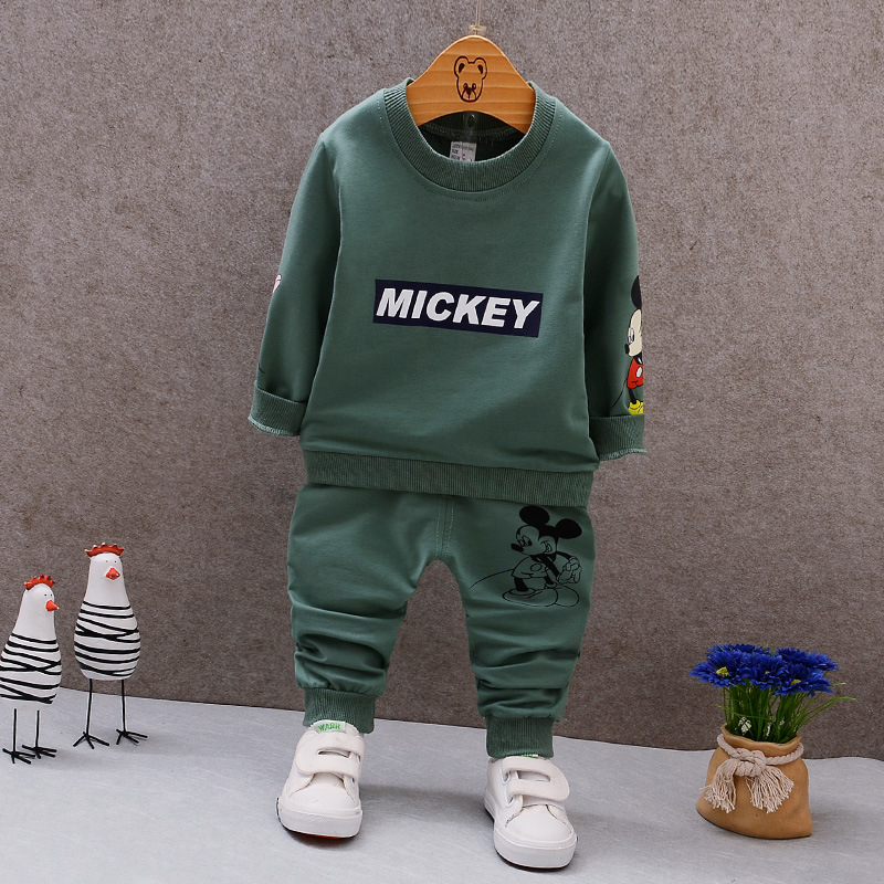2019 Spring Autumn Baby Boys Clothes Cartoon Mouse Sweater Toddler Brand Tracksuits Children Clothing Sets Fit For 9 M-5 Years