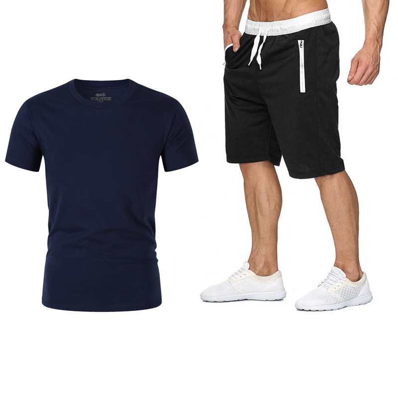 Men's Summer New High Quality Cotton Sports Casual T-Shirt + Shorts Men's Brand Clothing Two-piece Sportswear Fashion Casual T-S