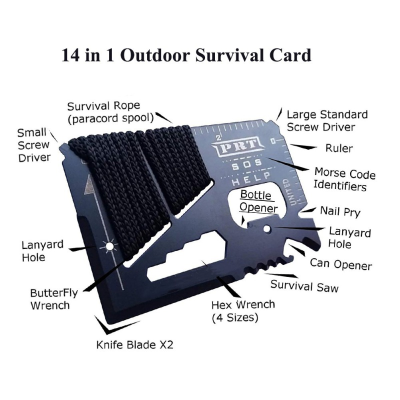 14 In 1 EDC Tool Mini SOS Survival Card Gadget Stainless Steel Multi Functional Outdoor Camping Survival Tool New