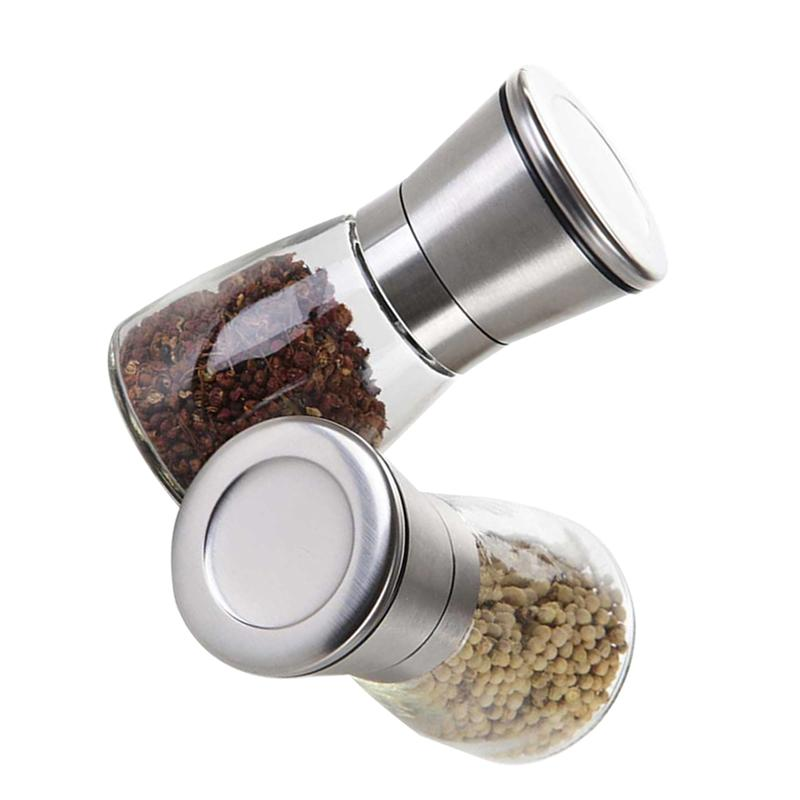 2X Stainless Steel Large Manual Salt And Pepper Spice Sauce Mill Grinder Shaker