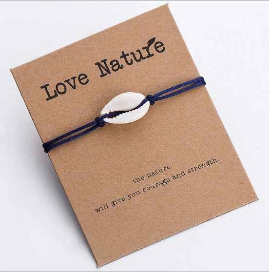 1pc Hot Sale Fashion Wholesale  paua genuine cowrie sea shell bracelet Paper Wish Card Gift Handmade Red String  260-268