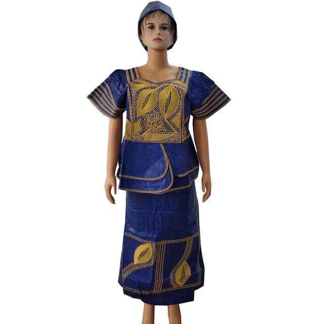 MD アフリカの伝統的な服スーツ刺繍 dashiki バザンリッシュスカートセット 2019 南アフリカ服トップス