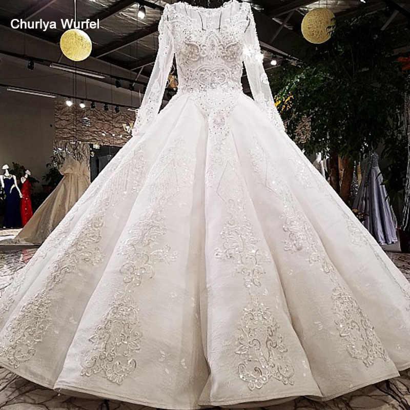 LS62312 подвенечное платье с длинным рукавом2018 Роскошное свадебное платье с длинными рукавами с шейным платьем с бриллиантами