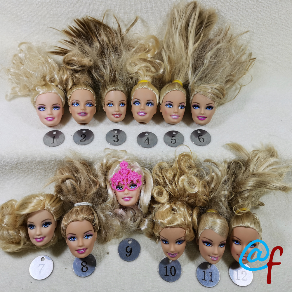 B5-3 Original Foreign Trade Europe Smile Blue Eyes Beauty 1/6 OOAK NUDE Doll Head Mussed Golden Hair For DIY 90% NEW