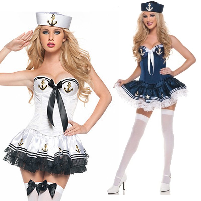 Carnival British Style Naval Sailor Suit <font><b>Costume</b></font> <font><b>Halloween</b></font> <font><b>Sexy</b></font> Pin-Up Girl Clubwear Outfit Cosplay Fancy Party Dress image