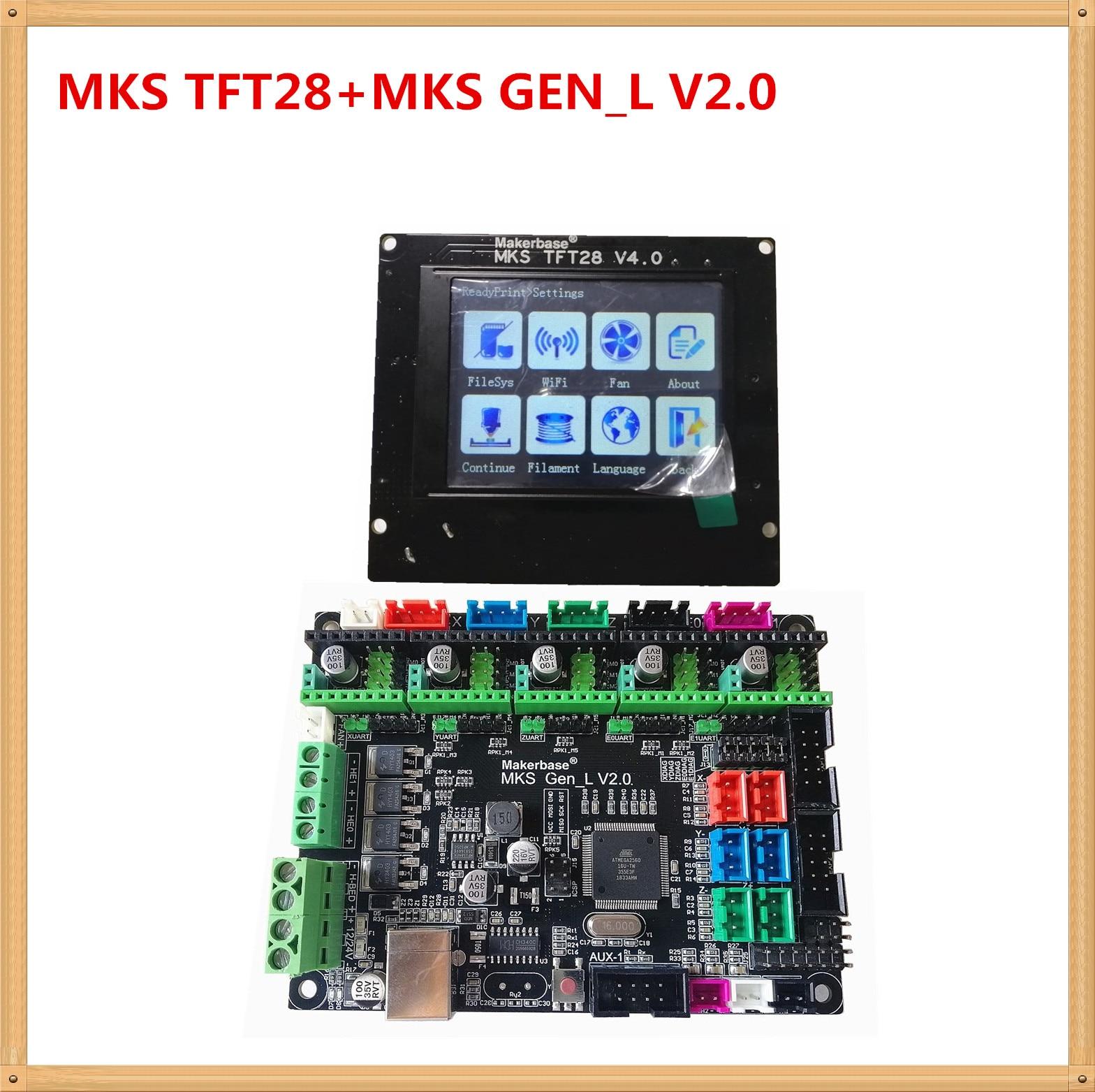 MKS GEN L V2.0 + MKS TFT28 pantalla en color minipanel pantalla táctil barato 3D impresión kits escolares controlador 3d impresora starter unidad - 2