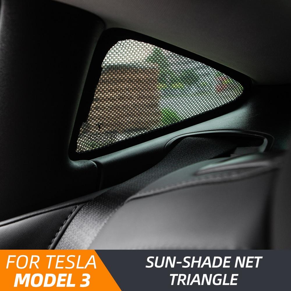 Heenvn Model3 Car Window Sunshade For Tesla Model 3 Sunshade Accessories Triangle Sun Shade Line Shades Protector Model Three