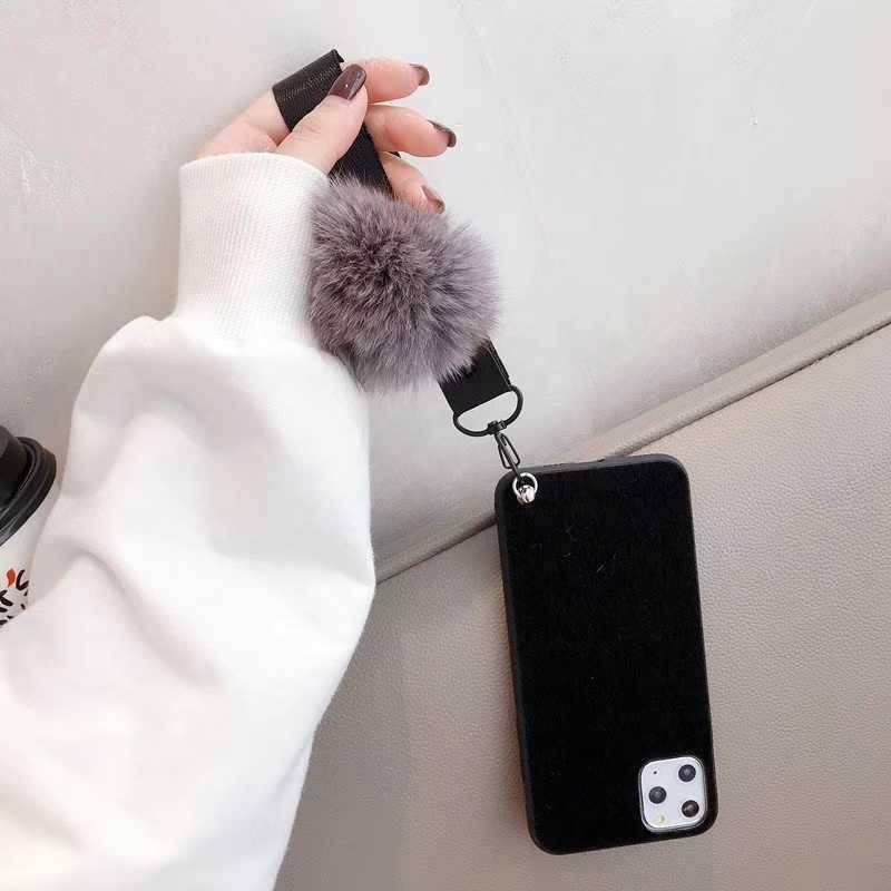 Note10Plus רך TPU DIY פרווה כדור יד רצועת טלפון מקרה עבור סמסונג S8 S9 S10Plus M10 M20 M30 A10 A20 a40 A70 חורף קטיפה כיסוי