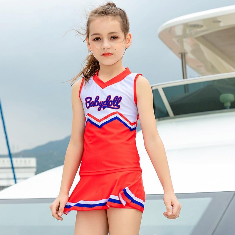 2019 Europe And America New Style Hot Sales KID'S Swimwear Split Skirt-Athletic Hipster V-neck Boxer GIRL'S Swimsuit