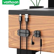 Vothoon kablo düzenleyici silikon çapraz kablo sarıcı esnek kablo yönetimi klipleri kablo tutucu fare için kulaklık kulaklık