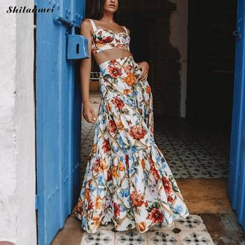 Summer Printed Floral Two Pieces Set Women Sleeveless Sling Crop Top And Large Hem Design Skirt Sets Fashion Bohemian 2 Pcs Sets knot hem crop top