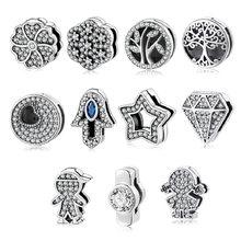 Perles en argent sterling 925 et réfléchissantes, originales pour femme, accessoire 100% de grande qualité, fabrication de bijoux supérieur, bracelet à breloques