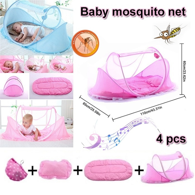 Summer 0-3 Years Old Portable Collapsible Mosquito Net With Sleeping Pad Pillow Mosquito Net Bed Newborn Bedroom Travel Bed Crib