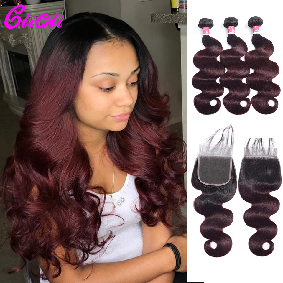 Brazilian Hair Bundles With Closure Body Wave 1b 99J Ombre Human Hair Bundles With 4x4 Lace Closure Remy Preplucked 150% Density
