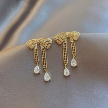 Bowknot Earrings Elegant Hollow Metal Women Fashion Crystal Joker Contracted Senior Shiny