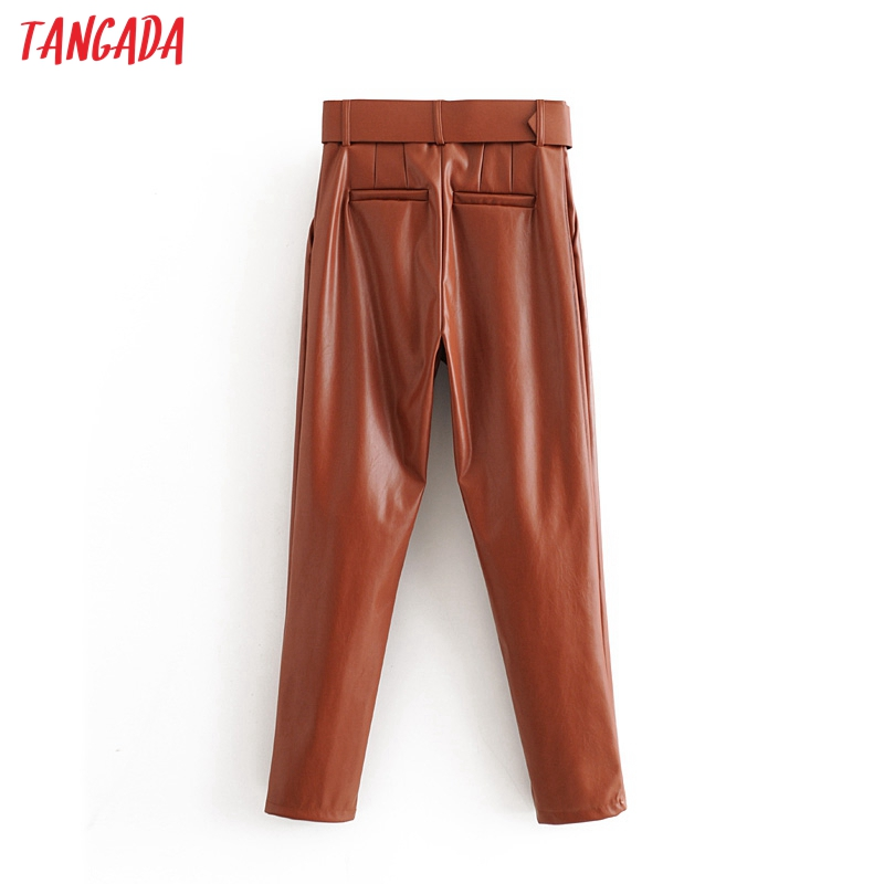 Tangada women black faux leather suit pants high waist pants sashes pockets 2019 office ladies pu leather trousers 6A05 77