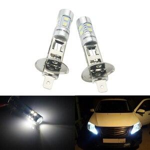 Image 1 - ANGRONG 2pcs H1 Xenon White 10 SMD LED DRL Driving Fog Beam Headlight Bulb Lamp(CA304)