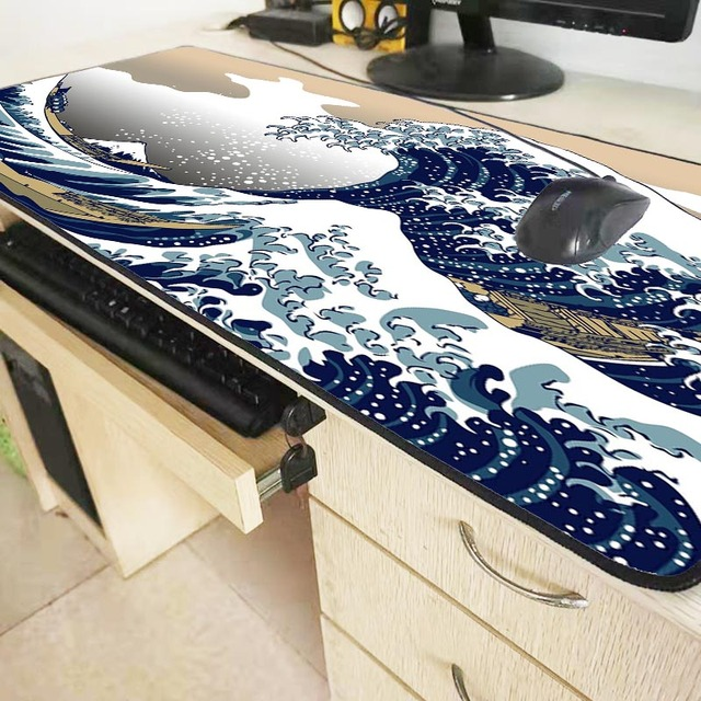 XGZ Great Waves Art Mousepad Large Size Gaming Keyboard Mouse Pad Computer Laptop Pc Game for CSGO DOTA LOL Gamer with Lock Edge 5