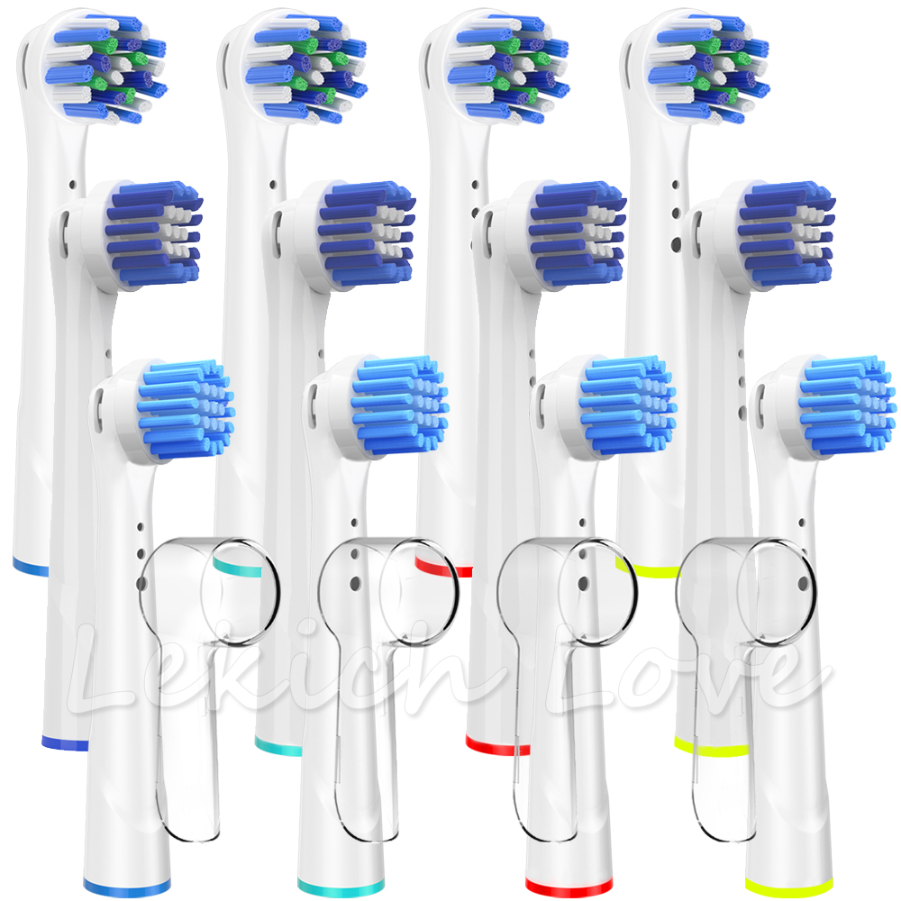12 Pcs Replacement Toothbrush Heads for Oral B Electric Toothbrush with 4 Pcs Toothbrush Head Covers for Braun Oral b Brush Head image