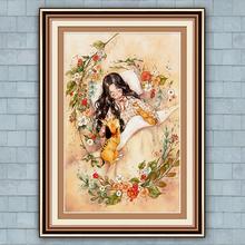 Robótki DIY wydrukowano Cartoon Girl zestawy do haftu krzyżykowego do pełnego haftu cztery wzory czas wolny zestaw do szycia krzyżykowego home decor tanie tanio zozack Portret PACKAGE Obrazy Składane 100 COTTON Europa PP bag MY-H2192