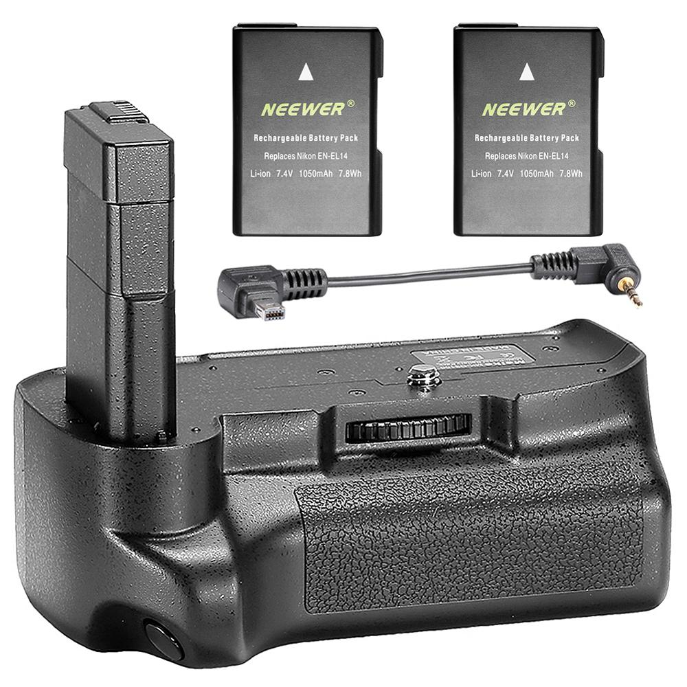 Neewer Professional Vertical Battery Grip with 2 Pack 7.4V 1050 mAh Replacement EN EL14 Batteries for Nikon D3100 D3200 D3300|vertical battery grip|battery grip|neewer battery grip - title=
