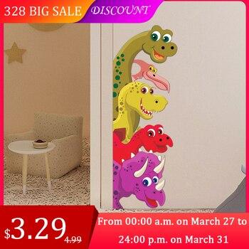 Funny Probe Dinosaur Behind the door Room Decor Wall Decals Stickers Children Nursery Kids Bedroom Living Room Mural Wall Art