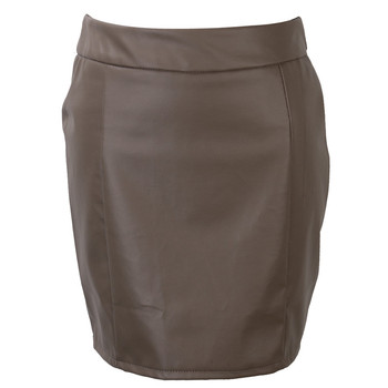 Fashion Women Leather Skirt Female Solid Bodycon Slim Pencil Short Mini Skirt Ladies Zipper High Waist Skirt Tight Clubwear 6