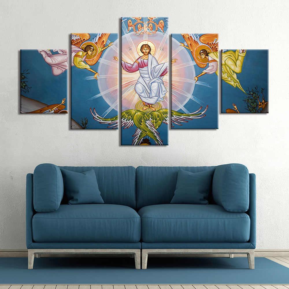 キャンバスイエスキリストポスターやプリント壁アート宗教写真壁の装飾 5 個のホームインテリア