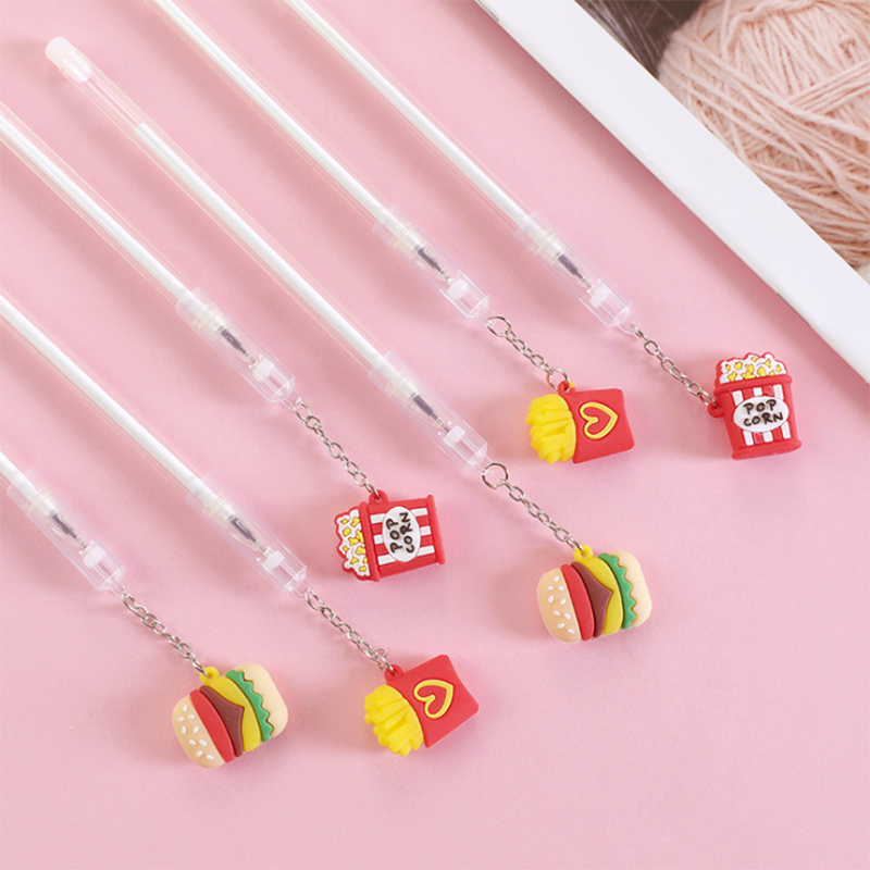 Colored French Fries Burger Gel Pen Office Stationery School Supplies Color Black And Blue Ink 0.5mm Pendant Pen 1PCS