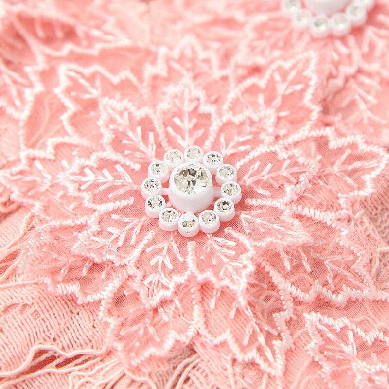 Dulce vestido de encaje Rosa 2020 estilo de primavera para mujeres con cuello con volantes de cristal botones Deco manga larga vestido Grogeous - 3