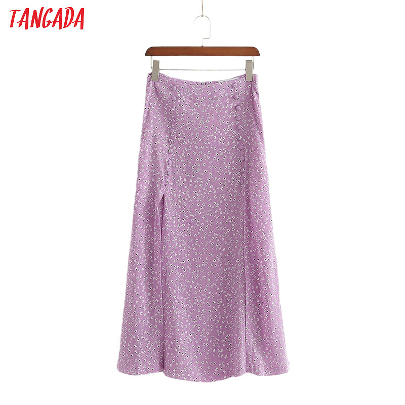 Tangada Women Purple Floral Print Long Skirt Back Zipper Vintage Female Casual Maxi Skirts 1D185