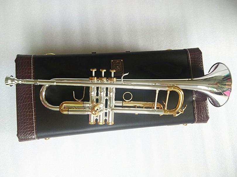 Qualité Bach trompette Original argent plaqué or clé LT180S-72 plat Bb professionnel trompette cloche haut instruments de musique en laiton