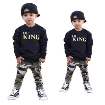 Toddler Boys Clothing Set Boy Letter Long Sleeve T shirt Tops+Camouflage Pants Children Outfits Kids Clothes Sets Autumn Winter toddler girl outfits 2018 striped patchwork t shirt tops denim pants clothes kids 2 pcs autumn suits children outfits clothing