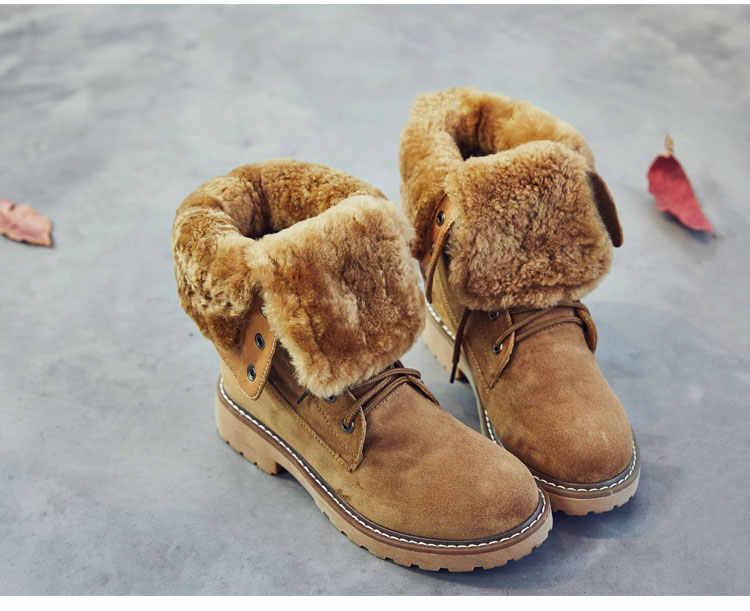 SWYIVY אמיתי עור מגפי נשים חורף נעלי אופנה 2019 אמצע עגל פלטפורמת נשים חם מוצק קצר בפלאש נעלי אישה 41