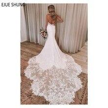 EJUE SHUNG Summer Long Mermaid Wedding Dresses Backless Spaghetti Straps Lace Appliques Beach Bridal Dresses Vestido De Novia
