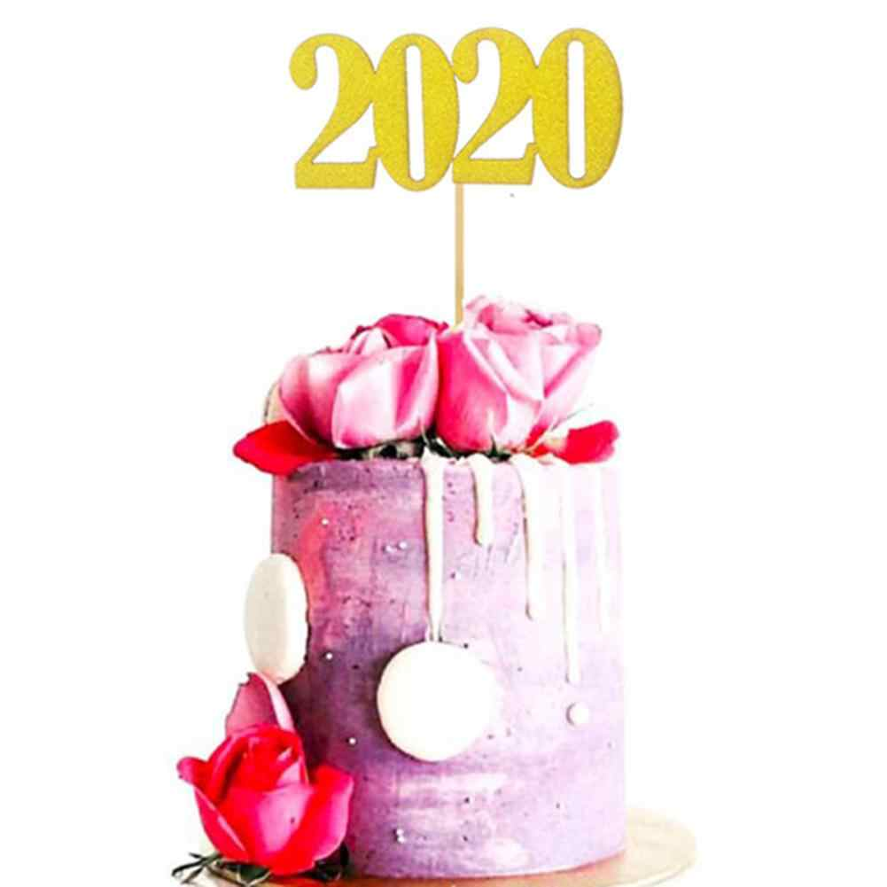 2020 Cake Topper Flag New Year Birthday Wedding Party Cupcake Dessert Decor Delicate number printing as well as glitter design