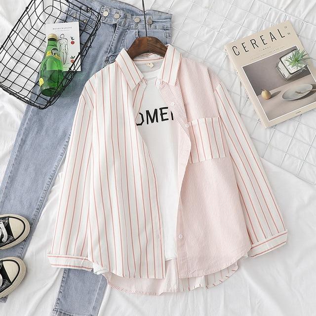 Фото полосатые женские блузки рубашки туника топы женская одежда